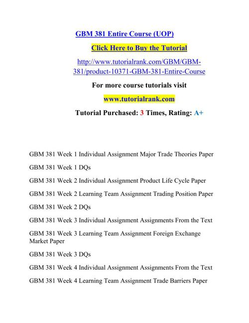 GBM 381 Potential Instructors / tutorialrank.com