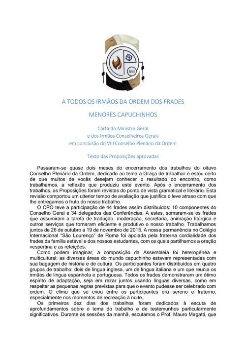 A TODOS OS IRMÃOS DA ORDEM DOS FRADES MENORES CAPUCHINHOS
