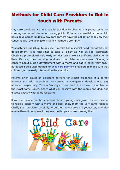 Methods for Child Care Providers to Get in touch with Parents