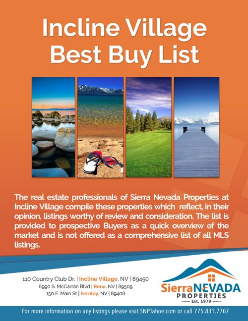 Incline Village Best Buy List for February 16, 2018