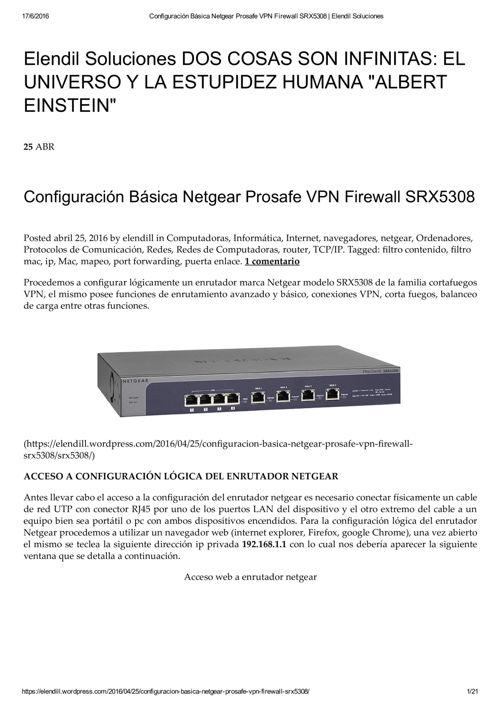 Configuración Básica Netgear Prosafe VPN Firewall SRX5308 _ Elen