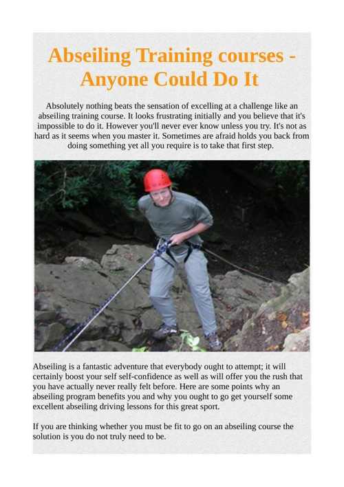 Abseiling Training courses - Anyone Could Do It