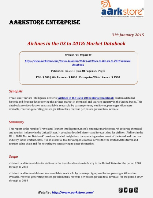 Aarkstore - Airlines in the US to 2018 Market Databook