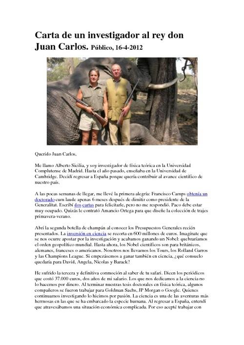 Carta  al Rey D.Juan Carlos