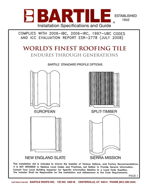 Bartile Installation Specifications and Guide