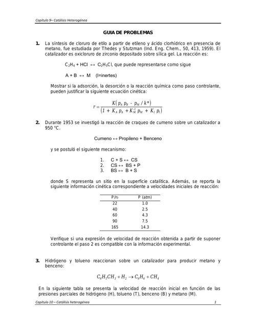 Guía de Problemas - Capitulo 9 - Catalisis Heterogenea