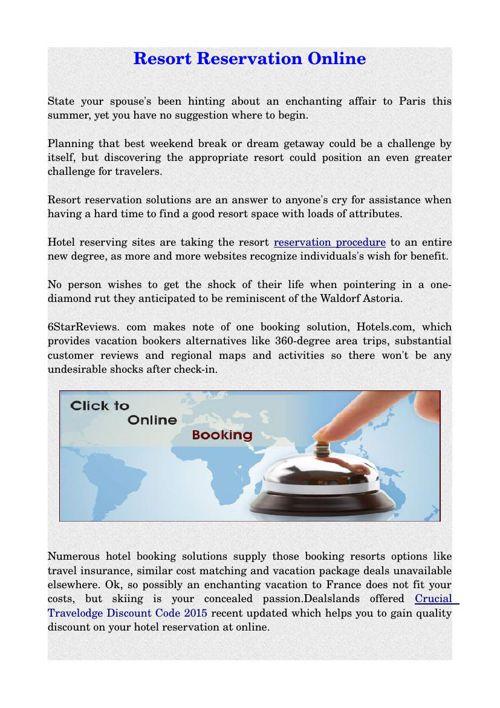Resort Reservation Online