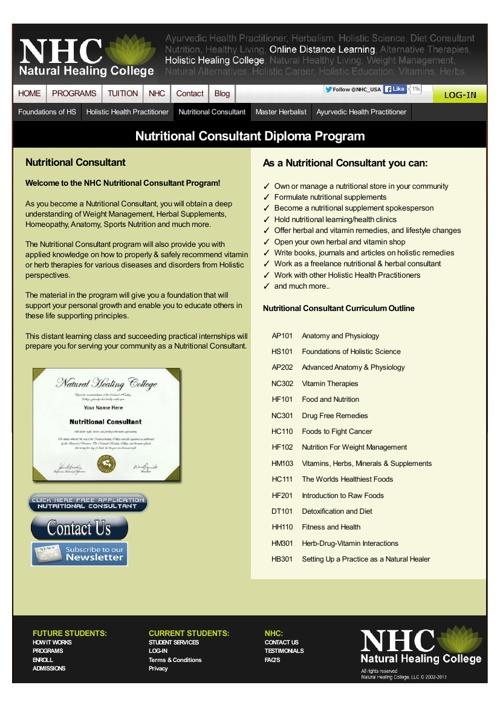 Nutritional Consultant Program