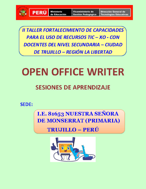 OPEN OFFICE WRITER - SESIONES DE APRENDIZAJE