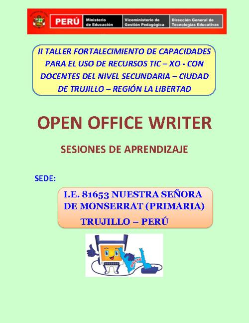 OPEN OFFICE WRITER - SESIONES DE APRENDIZAJE