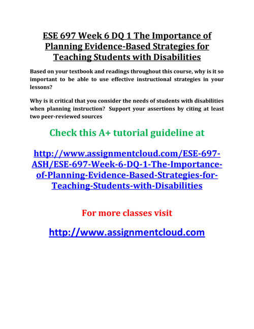 ESE 697 Week 6 DQ 1 The Importance of Planning Evidence