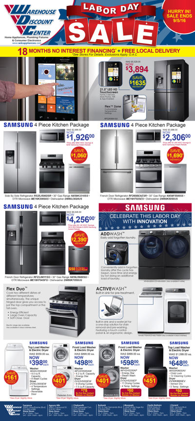 Warehouse Discount Center 9.2-4.16 Labor Day Ads