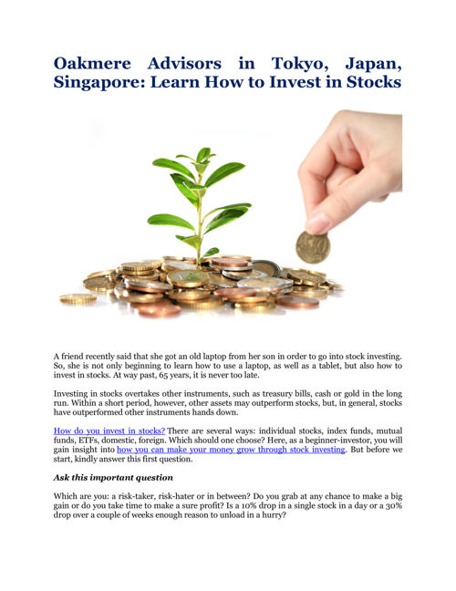 Oakmere Advisors: Learn How to Invest in Stocks
