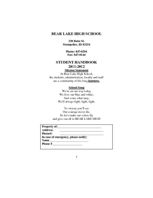 BLHS Handbook