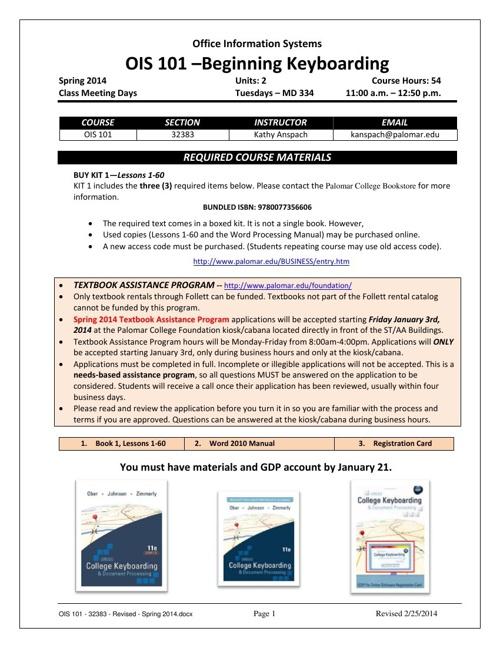 OIS 101 - 32383 - Revised - Spring 2014