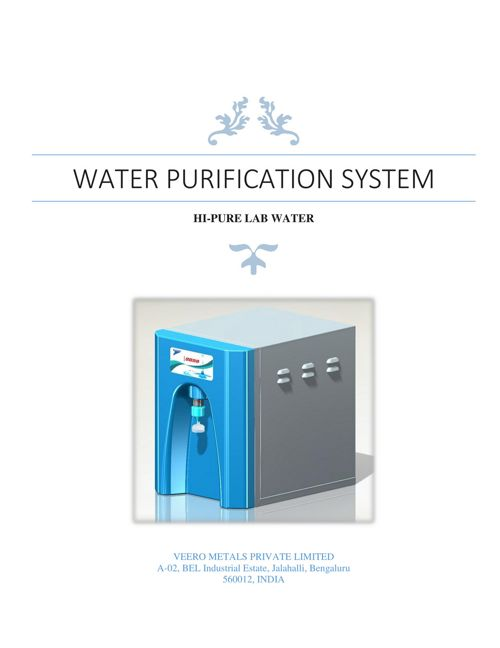 Water Purification System - Manual Draft 1