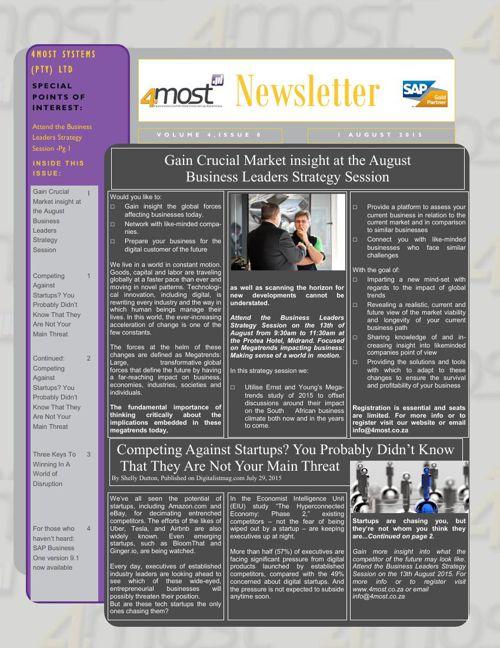 4most August  2015 Newsletter