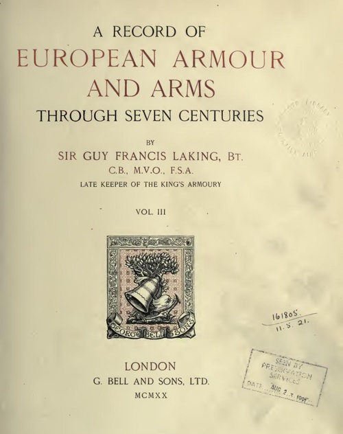 A Record Of European Armour And Arms - Vol 3