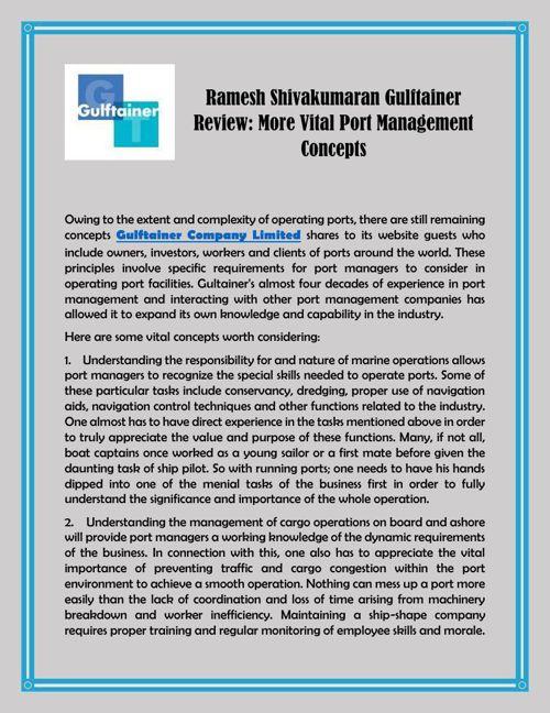 Ramesh Shivakumaran Gulftainer Review: More Vital Port Managemen