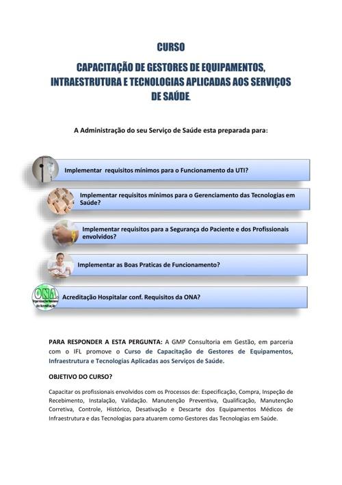 CAPACITAÇÃO DE GESTORES DAS TECNOLOGIAS APLICADAS A SAÚDE