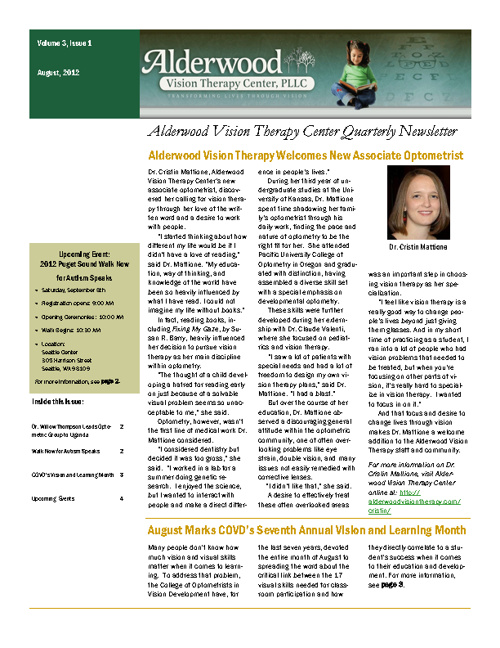 Alderwood Vision Therapy August Newsletter, Volume 3, Issue 1