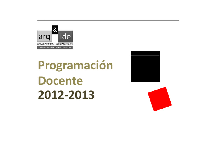 Programación Docente 2012/2013