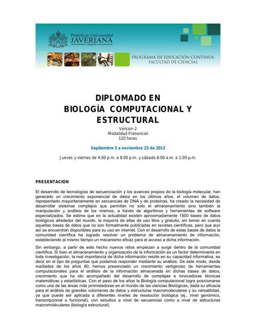 BIOLOGIA COMPUTACIONAL Y ESTRUCTURAL