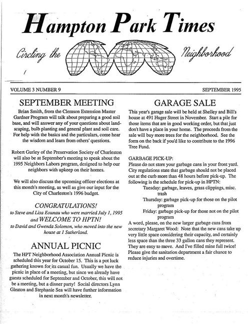 HPT Newsletter September 1995