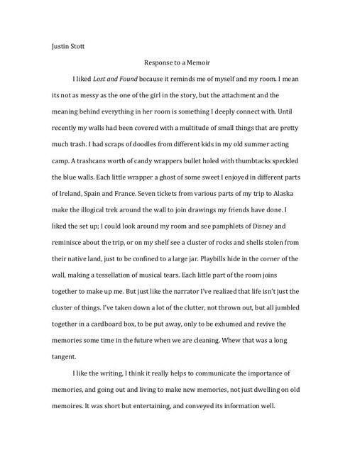 Response to Memoir