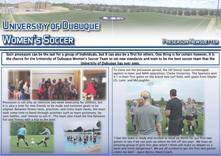 University of Dubuque Women's Soccer 2014 Newsletter: Issue 1