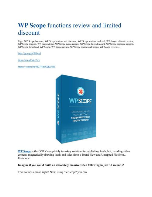 WP Scope review and giant bonus with +100 items