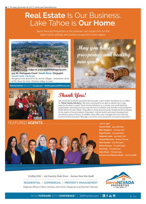 SNP New Year's Ad in the Tahoe Bonanza December 27, 2017