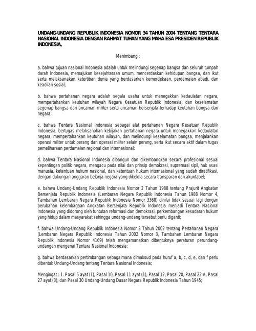 UU  Nomor 34 Tahun 2004 tentang Tentara Nasional Indonesia