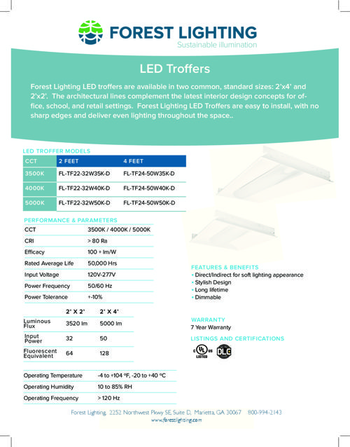LED Troffers Lights Complete Specification