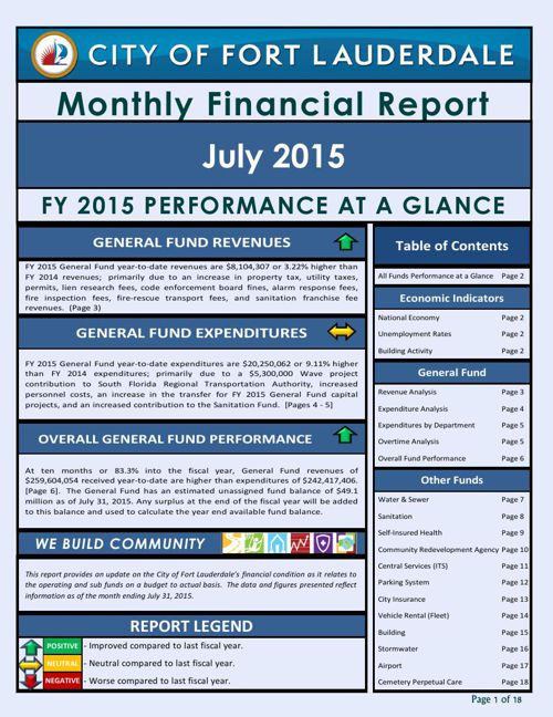 July Monthly Financial Report