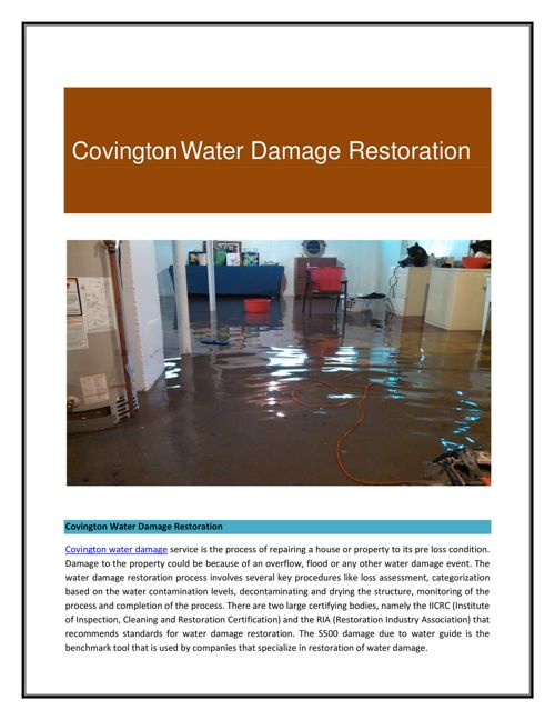 Covington Water Damage Restoration