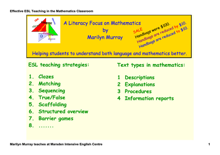 Effective ESL Maths Teaching - by Marilyn Murray