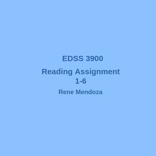 Reading Assignments 1-6
