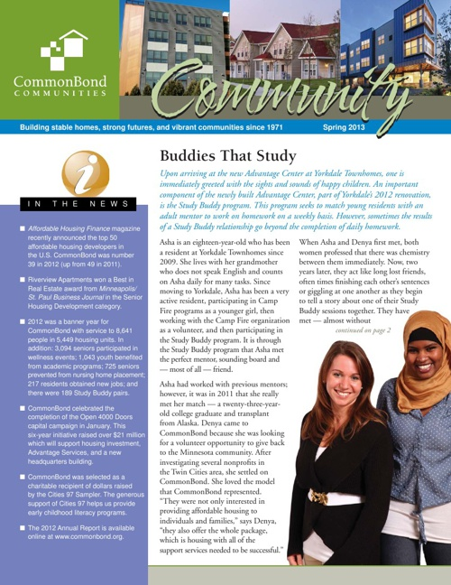 CommonBond Spring Newsletter 2013