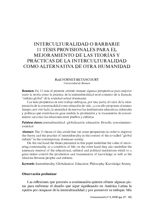 Copy of Interculturalidad o barbarie.