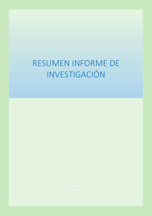 RESUMEN INFORME DE INVESTIGACIÓN