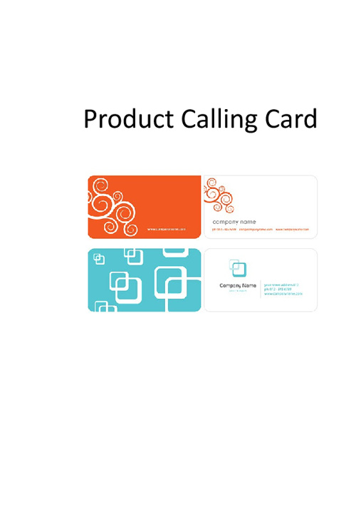 Product Calling Cards
