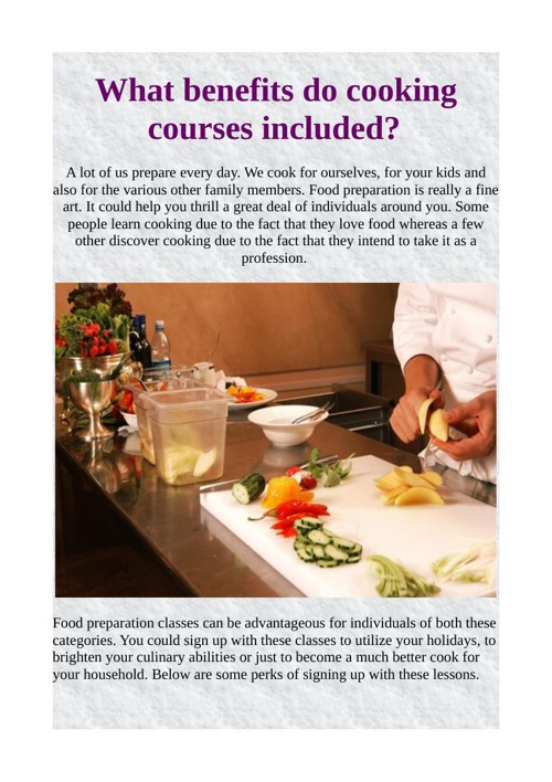What benefits do cooking courses included