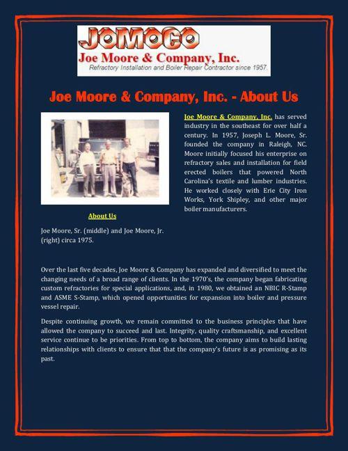 Joe Moore & Company, Inc. - About Us