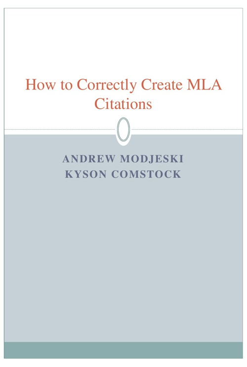Copy of How to Correctly Cite MLA Citations