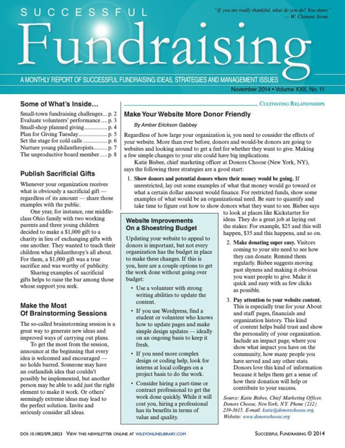 Successful Fundraising November 2014