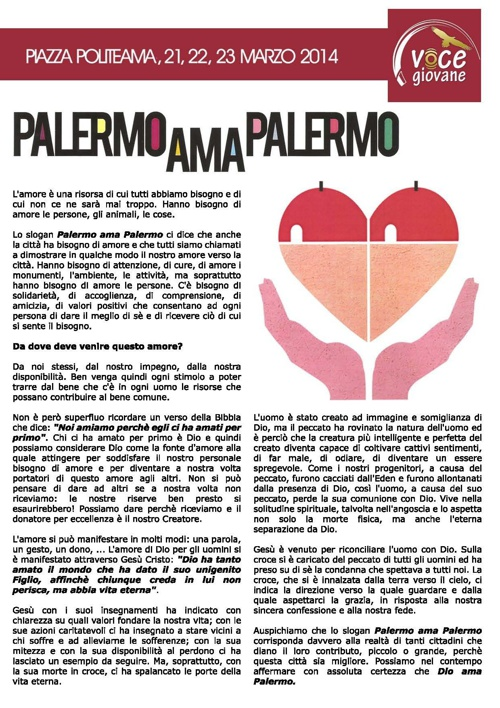 Volantino Chiesa A.D.I. Palermo per Palermo ama Palermo