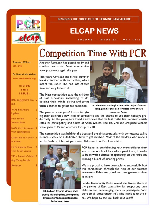 Issue 25 - Oct 2013 - ELCAP E-Newsletter