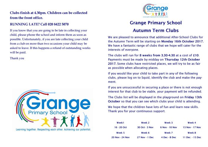 Grange Clubs Booklet Autumn Term