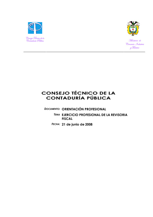 Revisoría Fiscal, Orientación Profesional del Consejo Técnico de